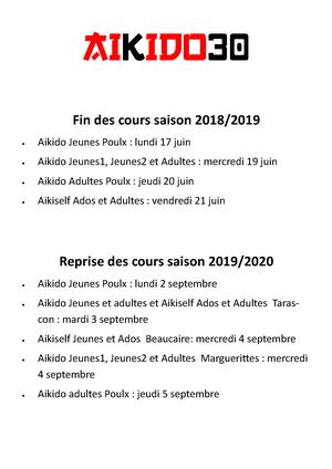 Fin des cours 2018/2019 et reprise 2019/2020