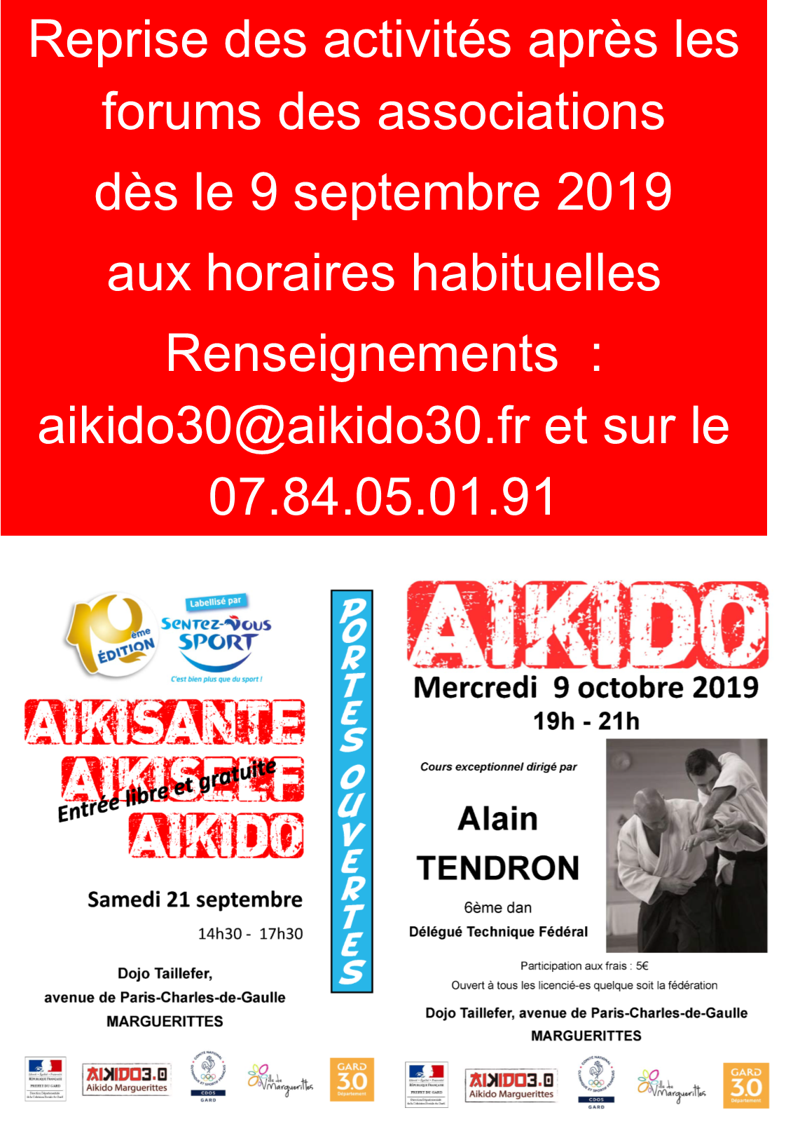 Reprise des activités dès le 9 septembre 2019 – Sentez-vous Sport le 21 septembre avec Aikido Marguerittes- Stage avec Alain Tendron le mercredi 9 octobre de 19h à 20h à Marguerittes