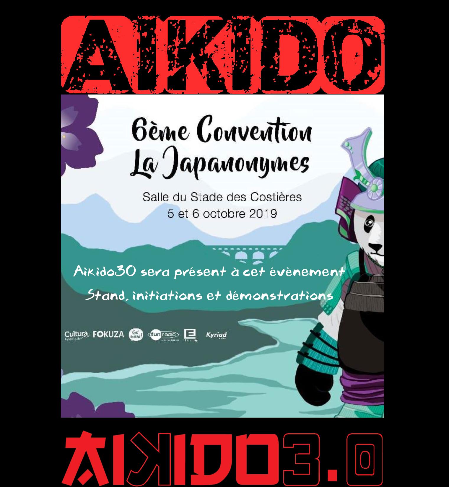 Aikido30 à la JAPANONYMES les 5 et 6 octobre 2019 à Nîmes-Costières