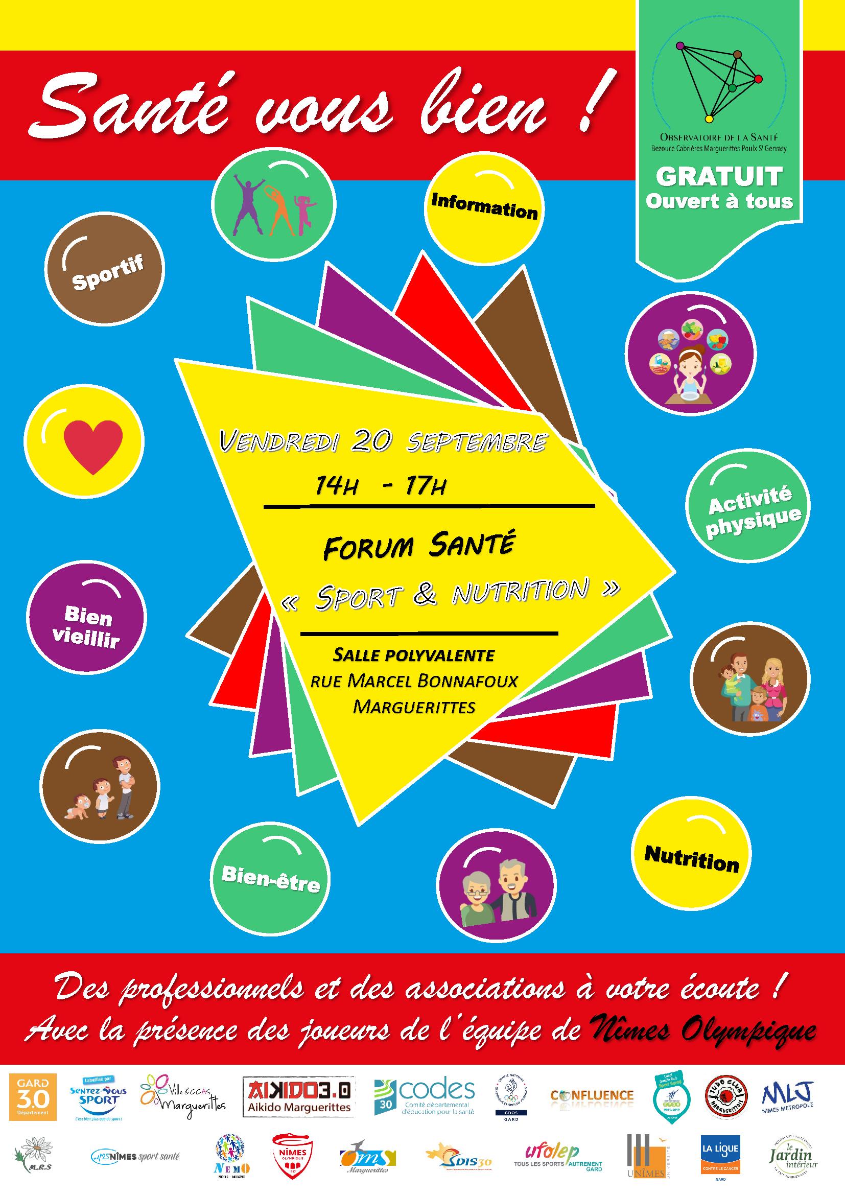 Forum Santé «Sport et nutrition» Vendredi 20 septembre 14h – 17h à Marguerittes