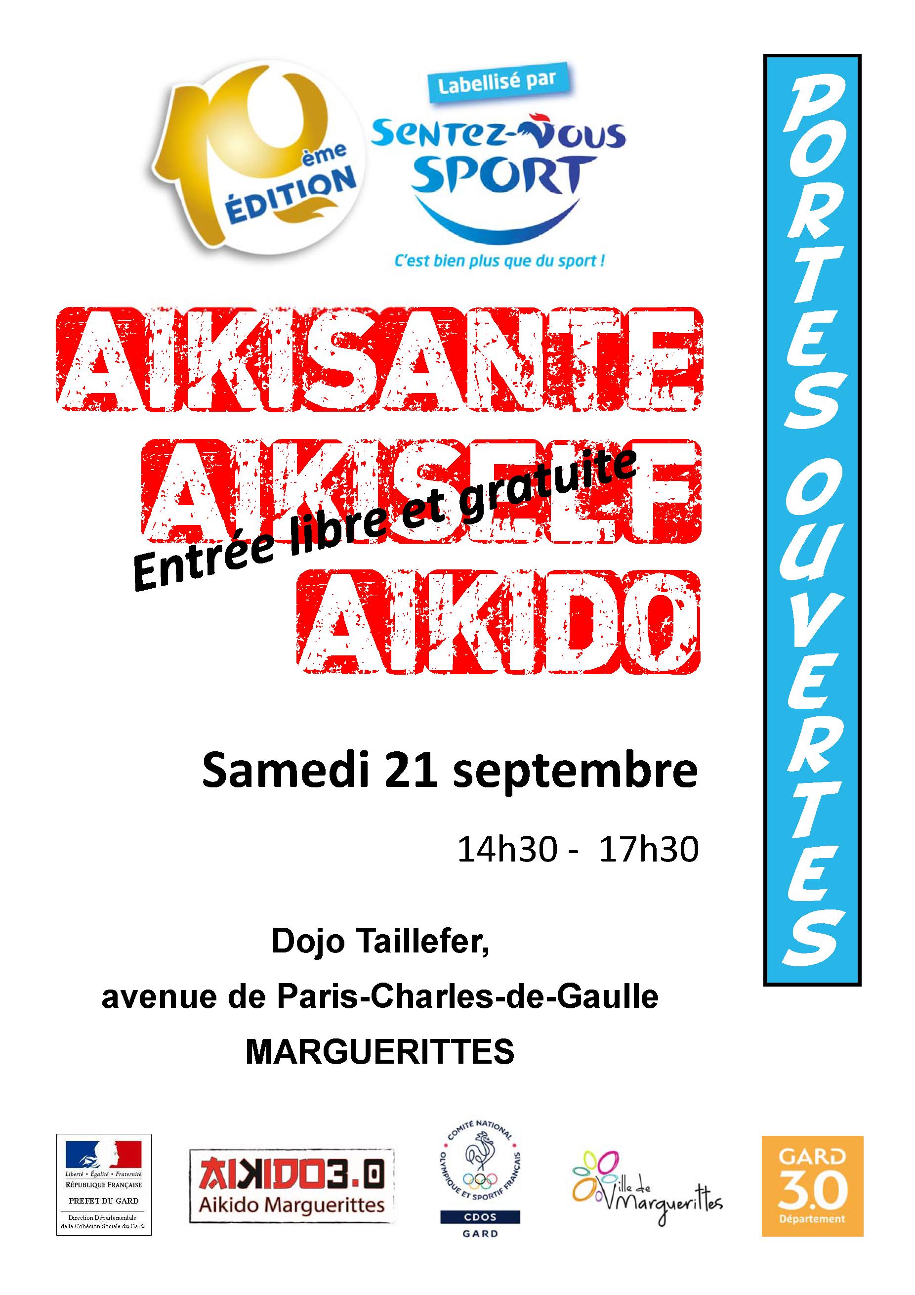 Sentez vous Sport et découvrez l'Aikido, l'Aikisanté et l'Aikiself samedi 21 septembre 14h30 – 17h30
