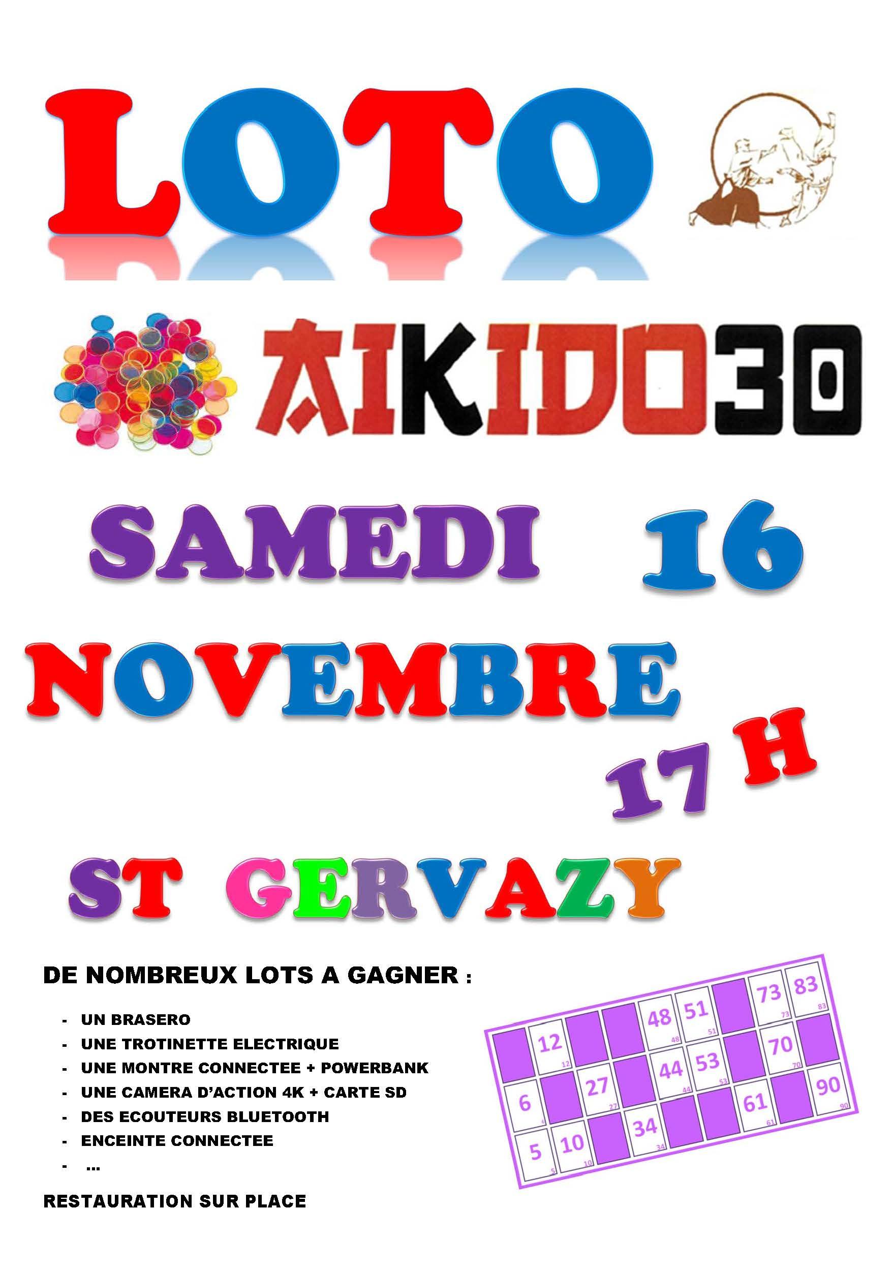 Loto Aikido30 samedi 16 novembre 17h  St Gervasy