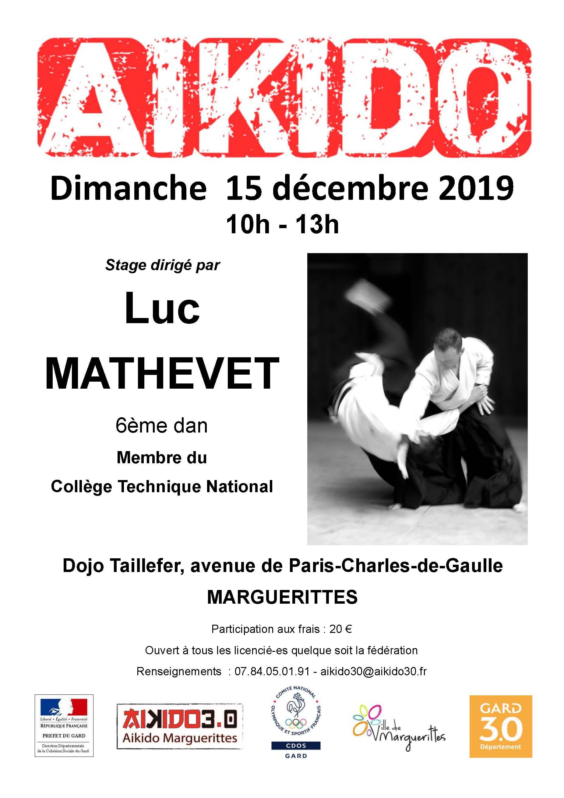 Luc Mathevet à Marguerittes le 15 décembre 10h à 13h