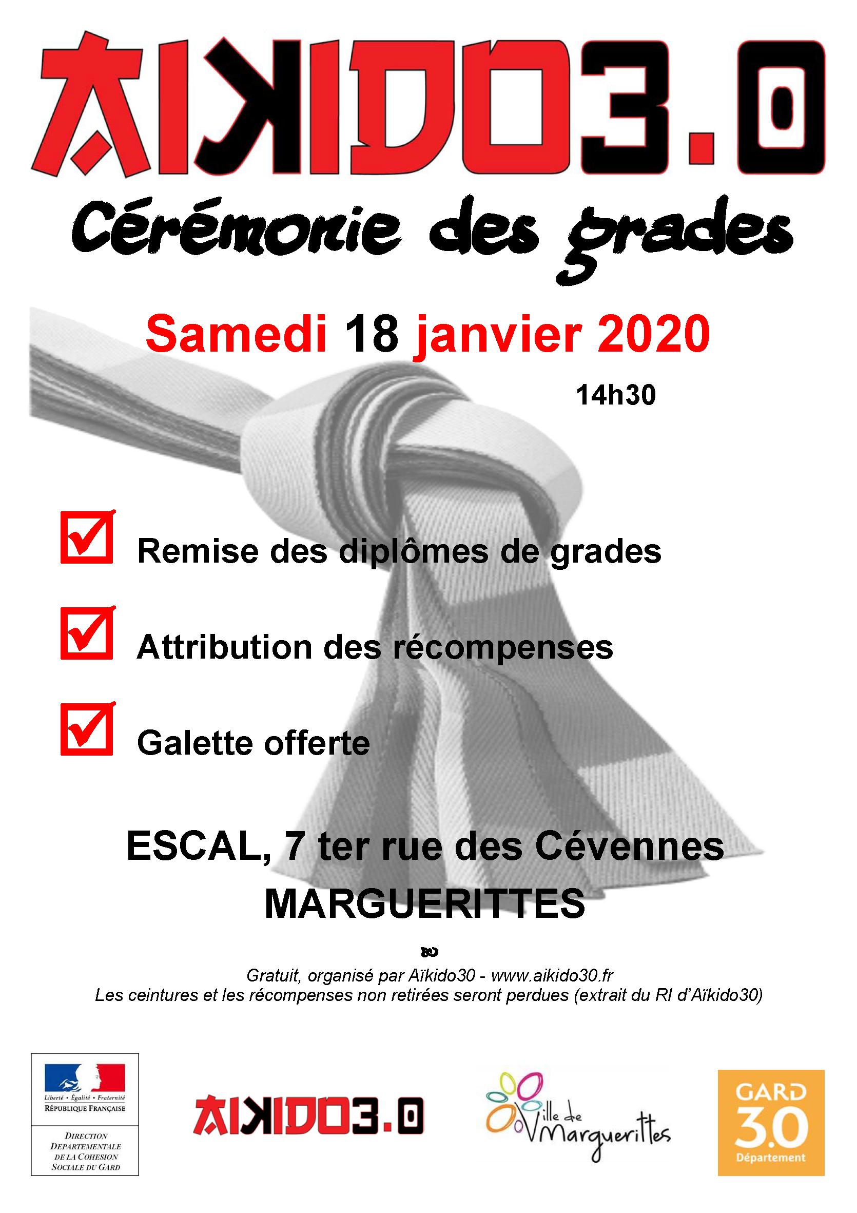 Cérémonie des grades A30 samedi 18 janvier à Marguerittes